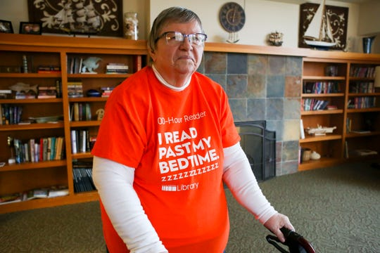 Janet Weasner, 81, uses Kitsap Regional Library's home delivery service to get books each month. A balance problem makes it difficult for her to get to the library and haul books home to her assisted living facility.