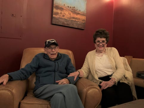 Earl and Carolyn Snypes live in Ridgecrest and have been married for 71 years. Earl took part in a panel featuring World War II Veterans at Lookout Brewing Co., the day before Veterans Day.