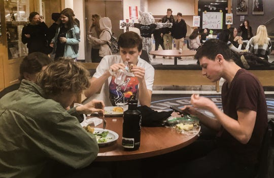 South Burlington High School students utilize the lobby for lunch because there is not enough room in the cafeteria on Nov. 13, 2019.