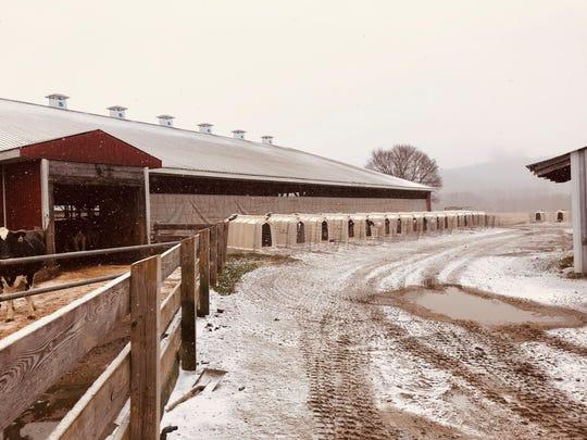 The Conant Farm on a snowy afternoon.