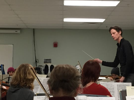 Kim Diehnelt leads the Me2/Orchestra in a rehearsal at the Miller Community and Recreation Center in Burlington on Nov. 14, 2019.