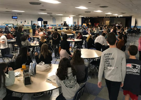 South Burlington's Frederick H. Tuttle Middle School has a full cafeteria despite three lunch periods - as seen on Nov. 11, 2019.