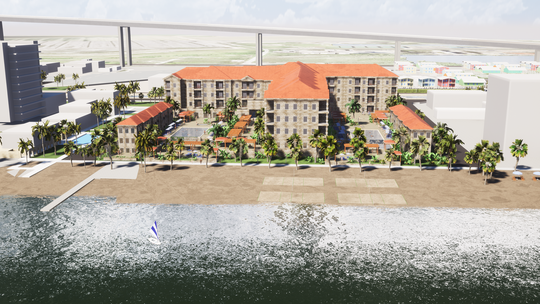 The proposed hotel would be called The Frazier and be a 6-floor, about 200-room Marriott facing the beach at Breaker Avenue and Surfside Boulevard.About 180 multifamily apartments will be attached to the hotel as well.