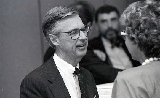 "Fred Rogers of ""Mister Rogers' Neighborhood"" speaks with attendees at the Conference of Southwest Foundations annual meeting on May 13, 1988 held at the Hershey Hotel in Corpus Christi. Rogers was a speaker at the conclusion of the three-day conference."