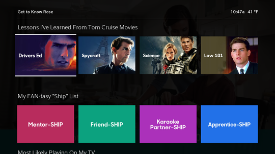 Rose Ann Farrales, one of the editors for Xfinity's X1 platform, is an unabashed fan of Tom Cruise movies. So she shares them, curated by category, on her editor page.