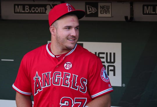 Los Angeles Angels center fielder Mike Trout (27) won his third American League Most Valuable Player award on Thursday.