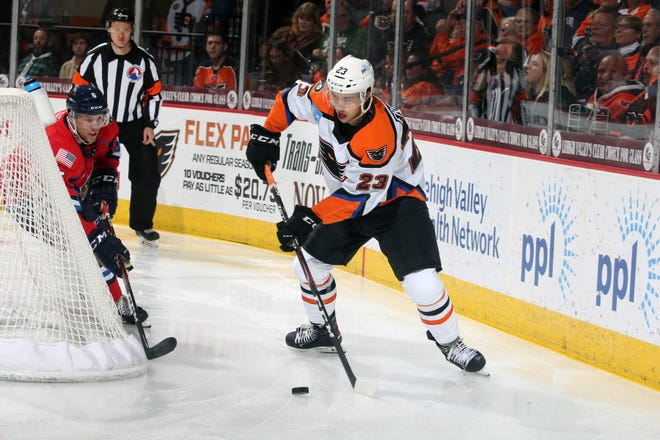 Morgan Frost leads the Lehigh Valley Phantoms in points this season, but  he still has some work to do before he's ready for the NHL.