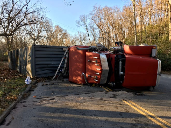 A truck full of crackers overturned on Kellogg Avenue Friday.