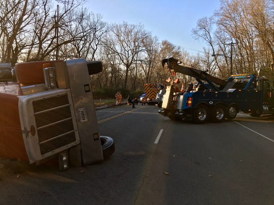 Police are on scene of a semi that overturned on Kellogg Avenue Friday.
