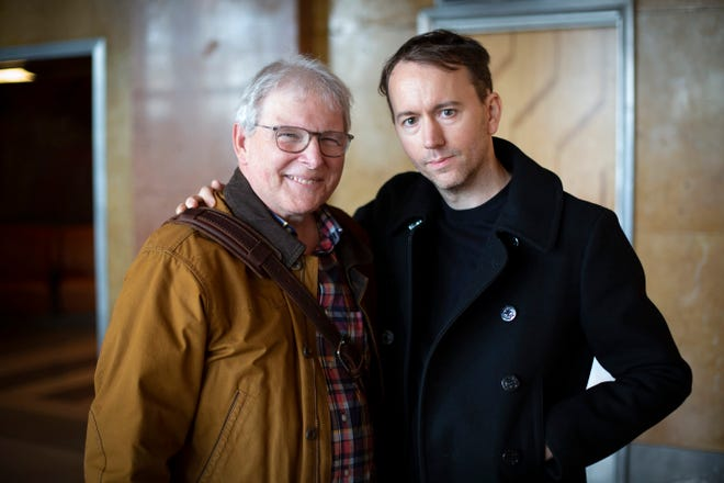 Photographer and filmmaker Tyler Shields (right) poses with reporter David Lyman at the Cincinnati Museum Center for his 'day out with the artist' story.