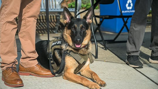Jason Pryor of Elizabeth received the K-9, named Keen, as a gift from the Kean Office of Student Government