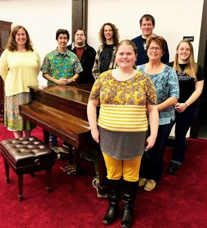 New members of the Coshocton Community Choir in the back are Christy McCollum, Quentin Wherley, Austyn Reveal, Grant Cullison and Anthony Palmer. In the front are Jessica Palmer, Sharlynn Smith and Jessica Dalrymple. Not pictured is Julie Rush.