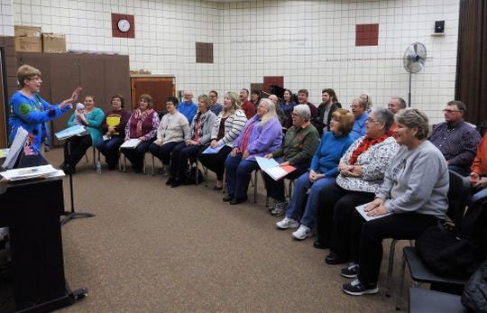 Rolanda Hunt leads a rehearsal of the chorus for the Warsaw Lions Club 62nd annual Music and Comedy Show this weekend at River View High School. The event raised about $10,000 last year for a variety of projects locally and through Lions Club International.