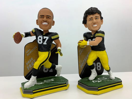 Former Iowa Hawkeye tight ends Noah Fant (87) and T.J. Hockenson, each now playing in the NFL as first-round draft picks, have had their college likenesses turned into limited-edition bobbleheads by FOCO for the National Bobblehead Hall of Fame and Museum.