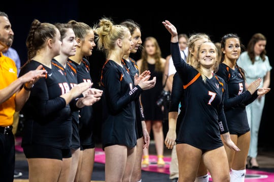 West Des Moines Valley's Sydney Clark is introduced during the Class 5A girls' volleyball state championship game, Friday, Nov., 15, 2019, at the U.S. Cellular Center in Cedar Rapids, Iowa.
