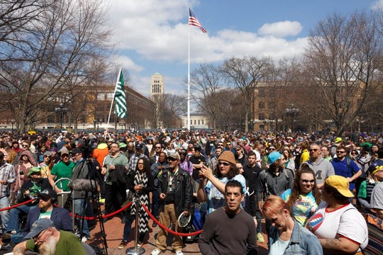 The University of Michigan's Diag filled with attendees during the 48th annual Hash Bash on Saturday, April 6, 2019 in Ann Arbor.