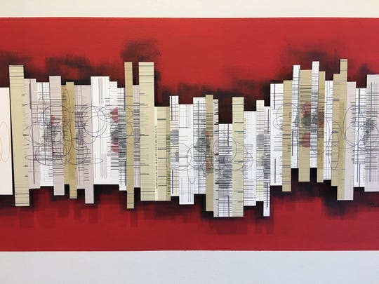 """Like a scroll that's been unfurled, this detail from a large piece Lynne Avadenka's  """"Empty Cities"""" series is long and linear. The artist's show, """"Intimations,"""" is at K. Oss Contemporary Art in Eastern Market till Nov. 23, with a closing reception Friday evening."""