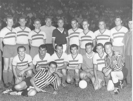 Members of the 1962 U.S. national amateur cup champion Carpathia Kickers.