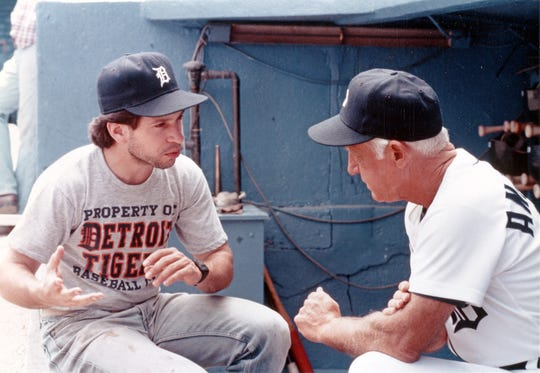 "Alan Shapiro directs Sparky Anderson at Tiger Stadium on the set of ""Tiger Town."""