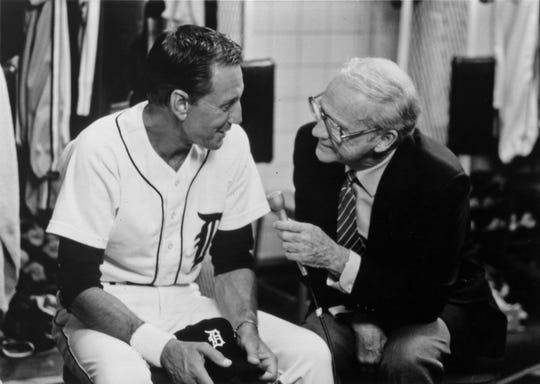 "Roy Scheider and Ernie Harwell filming ""Tiger Town."""