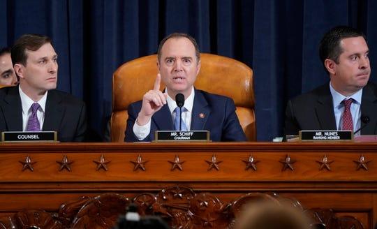 Chairman of the House Intelligence Committee Adam Schiff, D-Calif., speaks as former U.S. Ambassador to Ukraine Marie Yovanovitch testifies before the House Intelligence Committee on Capitol Hill in Washington, Friday, Nov. 15, 2019.