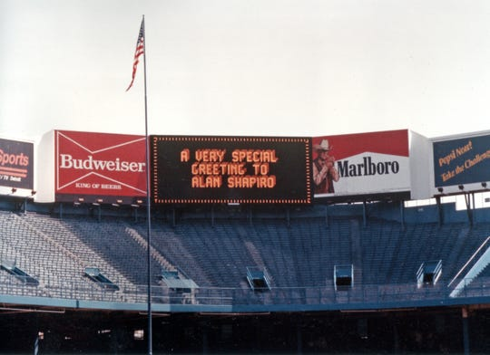 "A greeting for ""Tiger Town"" writer-director Alan Shapiro on the Tiger Stadium scoreboard."