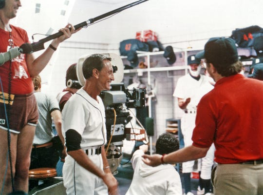 "Roy Scheider in the locker room at Tiger Stadium while shooting ""Tiger Town."""