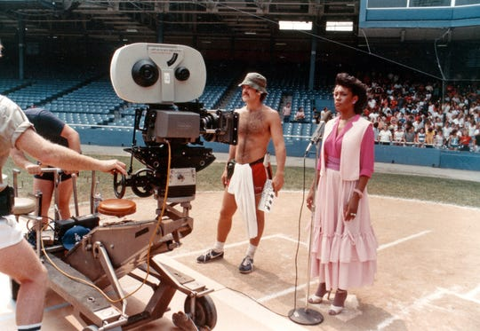"Mary Wilson of the Supremes films at Tiger Stadium during the ""Tiger Town"" shoot in summer 1983."