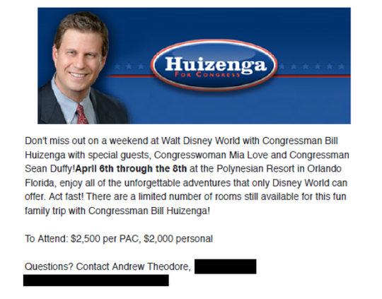 This message from Rep. Bill Huizenga's campaign was included in documents gathered as part of an Office of Congressional Ethics review into his use of campaign funds.