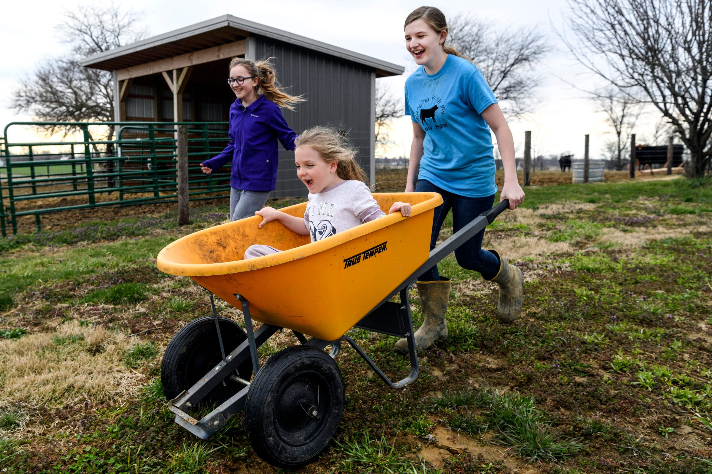 "Madelyn pushes Paige in an empty wheelbarrow as Anna keeps pace with them as they race around their backyard in Robards, Ky., Sunday evening, March 24, 2019. ""It has it's pros and cons, but overall I'd feel sorry for anybody who doesn't have a sister,"" Anna said."