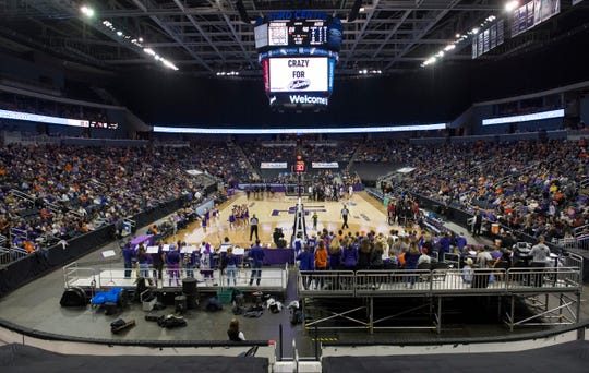 The Ford Center is packed with University of Evansville Purple Aces fans Thursday evening, Nov. 14, 2019.