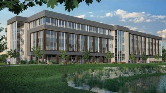 Commercial Horizons has proposed a $35 million office building on Innovation Court in De Pere's Southbridge Business Park. UnitedHealth Group is expected to move its employees from an existing office in Howard to the new building. The rendering is looking at the building from the southeast.