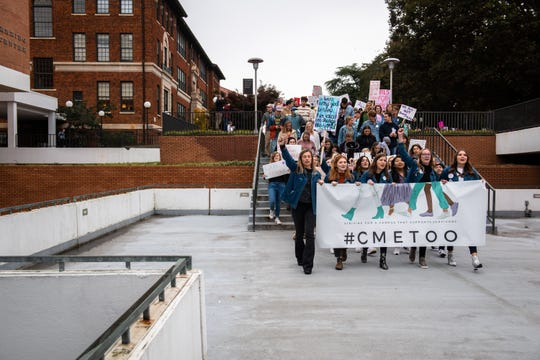 Clemson students participate in the Women's March Against Violence at Clemson University Friday, November 15, 2019. The march will follow a route of 0.9 miles from Tillman Hall to Sikes Hall in support of the 90% of college student survivors who do not feel safe reporting sexual assault.
