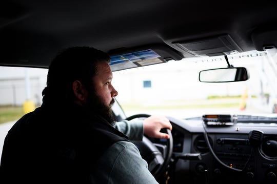 Mark Montgomery, an operations officer at GSP, drives around the airport searching for wildlife Friday, Nov. 15, 2019.