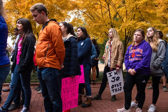 People gather before the Women's March Against Violence at Clemson University Friday, November 15, 2019. The march will follow a route of 0.9 miles from Tillman Hall to Sikes Hall in support of the 90% of college student survivors who do not feel safe reporting sexual assault.