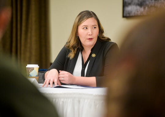 Misty LaPlant leads a conversation on community outreach during the Missing Indigenous Persons Task Force meeting last month.