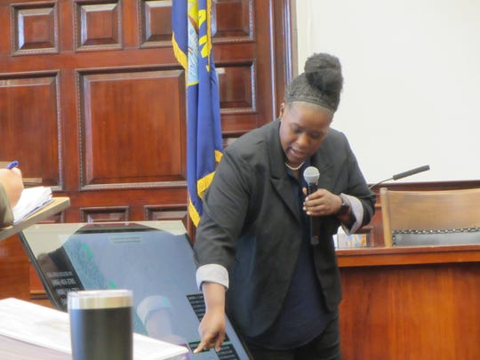 Sharonda Holleman, a Criminal Intelligence Analyst with the Rocky Mountain Information Network, shows the jury a map of cell phone use during the trial of Brandon Lee Craft for the kkilling of Adam Petzack.
