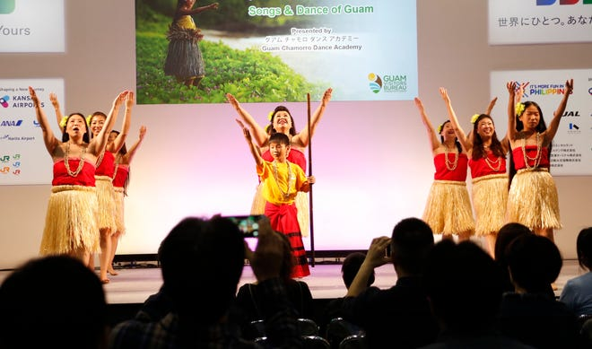 Dancers from the Guam Chamorro Dance Academy perform at the expo main stage to hundreds of visiting consumers.