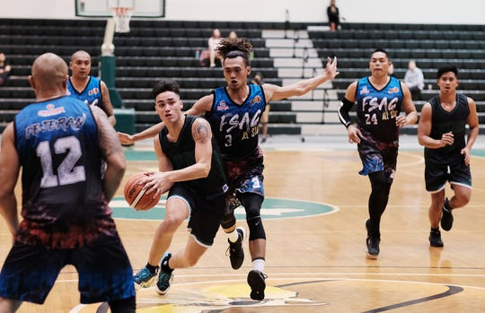 The University of Guam's Logan Hopkins dribbles past the FSAG All-Star defense Nov. 13 matchup. Hopkins led the Tritons in scoring with 37 points.