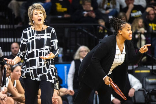 Iowa head coach Lisa Bluder and Iowa assistant coach Raina Harmon call out to players during a NCAA non-conference women's basketball game between the Iowa Hawkeyes and North Alabama, Thursday, Nov., 14, 2019, at Carver-Hawkeye Arena in Iowa City, Iowa.