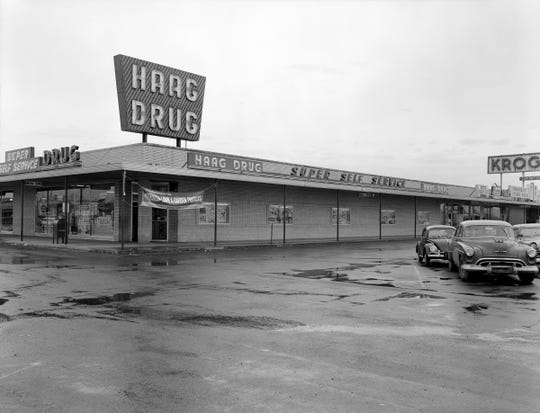 Haag Drug in a strip mall in 1963.
