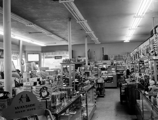 The interior of the Haag's Drugstore located at 2401 East 38th Street in 1949.