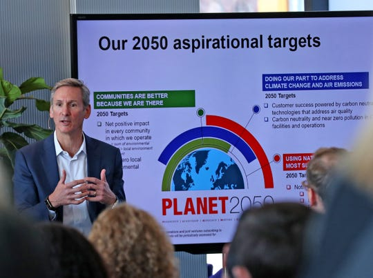 Cummins Inc. Chairman and CEO Tom Linebarger discusses the company's new environmental sustainability plan, Planet 2020, in a town hall Friday, Nov. 15, 2019.