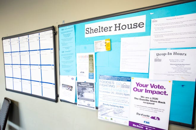 A bulletin board in the lobby at Shelter House is pictured, Thursday, Nov., 14, 2019, in Iowa City, Iowa.