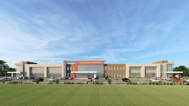 A mock up of the future Jackson Clinic and Baptist Memorial Health Care facility in Jackson Tenn.