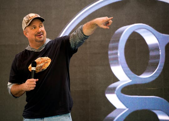 Garth Brooks speaks to the media at Neyland Stadium on Friday, November 15, 2019, ahead of his Saturday night concert at the stadium in Knoxville.