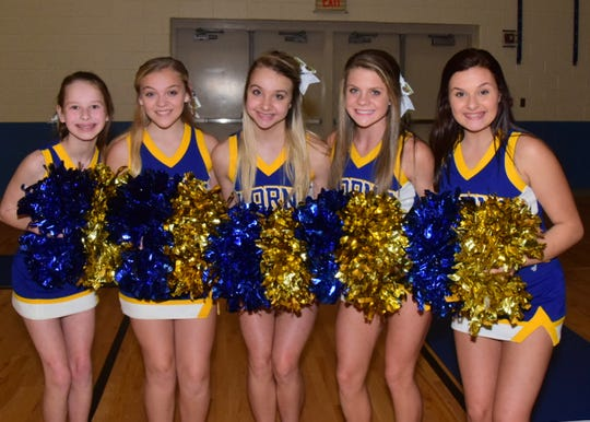 The cheerleaders were on hand to dance and cheer for the crowd at the Showcase held at Karns Middle School Tuesday, Nov. 12. From left: Haley Garrett, 13, Reagan Lester, 13, Emily Zimmerman, 13, Hannah Little, 14, Evelyn McNeeley, 14.