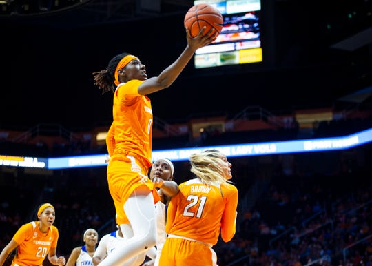 Tennessee's Rennia Davis attempts a layup during the University of Tennessee and Tennessee State women's basketball game on Thursday, November 14, 2019 at Thompson-Boling Arena.