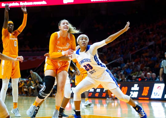 Tennessee's Lou Brown and Tennessee State's Takya Bennett (23) watch the ball during the University of Tennessee and Tennessee State women's basketball game on Thursday, November 14, 2019 at Thompson-Boling Arena.