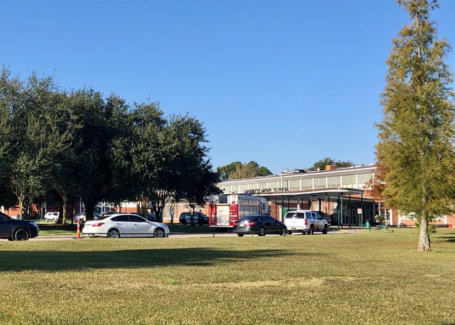 Lafayette High School was on lockdown early Friday, Nov. 15, with law enforcement on campus, including a Lafayette Hazmat truck.
